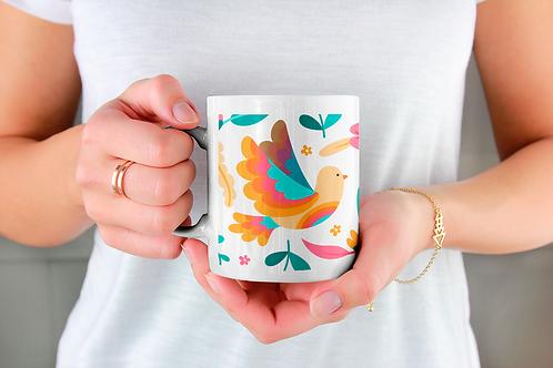 Стилна чаша за кафе с оригинални илюстрации на Птици - вар.24