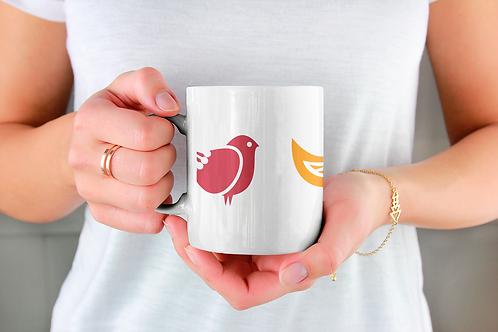 Стилна чаша за кафе с оригинални илюстрации на Птици - вар.25