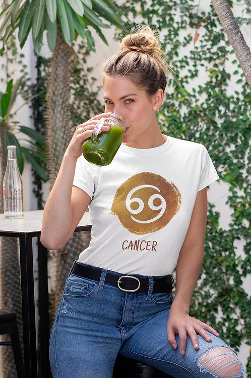 Бяла тениска със зодия Рак - Вариант 2 - Безплатна доставка