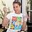 Thumbnail: Бяла тениска с илюстрация на Котки - Вариант 7 - Безплатна доставка