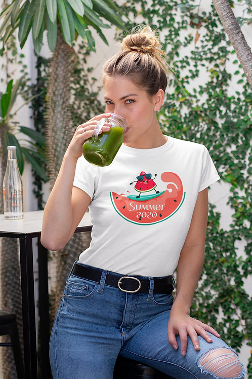 Бяла тениска със Сърф - Вариант 7 - Безплатна доставка