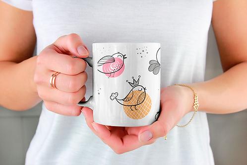 Стилна чаша за кафе с оригинални илюстрации на Птици - вар.15-Безплатна доставка