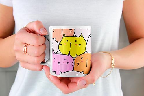 Чаша за кафе със стилни илюстрации на Котки-вар.24 -Безплатна доставка