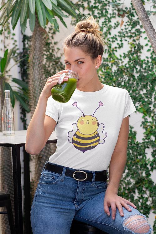 Бяла тениска с илюстрация на Пчели - Вариант 6 - Безплатна доставка