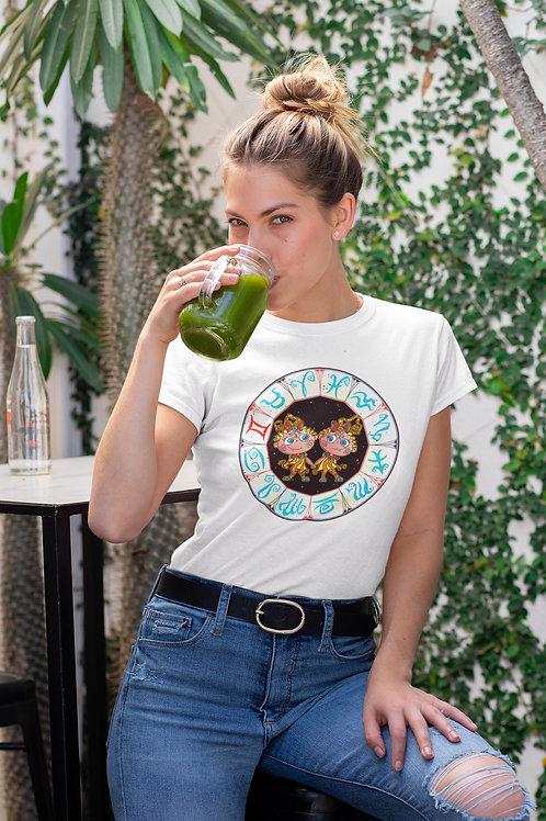 Бяла тениска със зодия Близнаци - Вариант 1 - Безплатна доставка