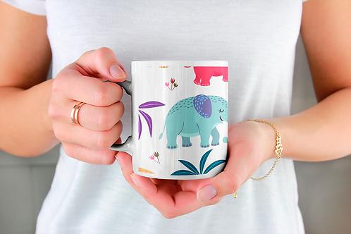 Чаша за кафе с илюстрации на Слончета - вариант 30 - Безплатна доставка.
