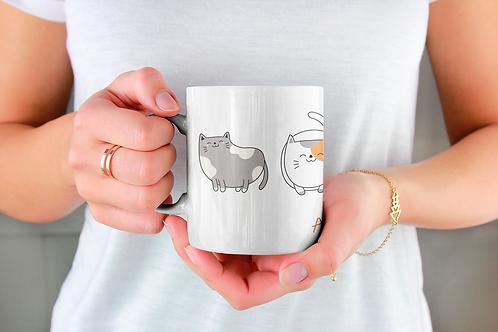 Стилна чаша за кафе с илюстрации на котки - вариант 10 - Безплатна достав