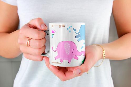 Чаша за кафе с илюстрации на Слончета - вариант 11 - Безплатна доставка.