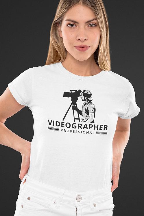 Бяла тениска - VIDEOGRAPHER - Безплатна доставка