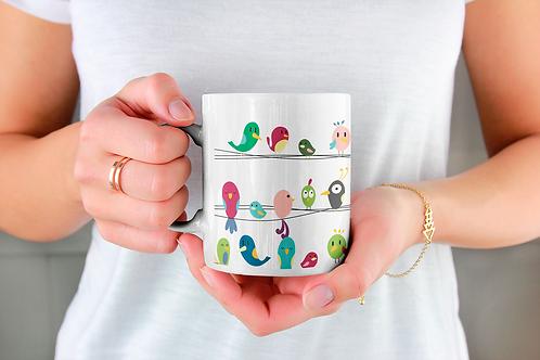 Стилна чаша за кафе с оригинални илюстрации на Птици - вар.2 -Безплатна доставка