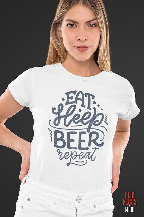 Бяла тениска - Eat Sleep Beer Repeat - Безплатна доставка