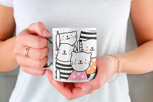 Чаша за кафе със стилни илюстрации на Котки-вар.13