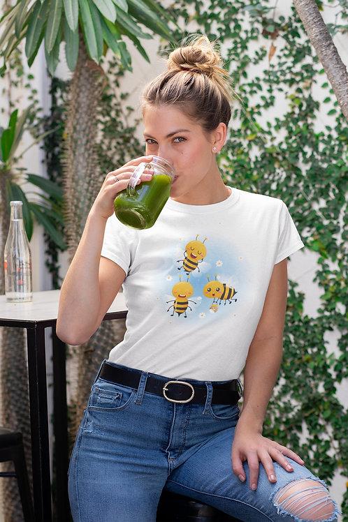 Бяла тениска с илюстрация на Пчели - Вариант 8 - Безплатна доставка