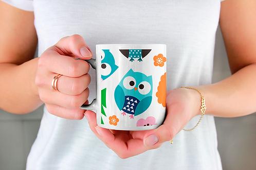 Стилна чаша за кафе с илюстрации на Бухал-вар.16 -Безплатна доставка