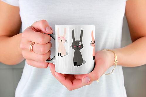 Стилна чаша за кафе с илюстрации на Зайци-вар.19 -Безплатна доставка