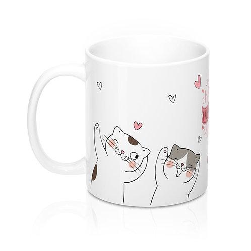Стилна бяла чаша за кафе с котки и надпис Happy Valentine's Day