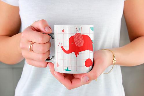 Чаша за кафе с илюстрации на Слончета - вариант 16 - Безплатна доставка.