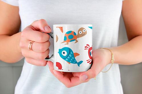 Стилна чаша за кафе с оригинални илюстрации на Риби - вар.7 - Безплатна доставка