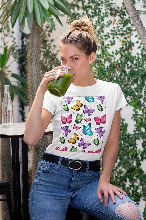 Бяла тениска с илюстрация на Пеперуди - Вариант 3 - Безплатна доставка