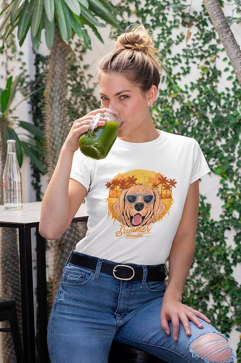 Бяла тениска с илюстрация на Кучета - Вариант 11 - Безплатна доставка.