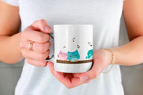 Стилна чаша за кафе с оригинални илюстрации на Птици - вар.1 -Безплатна доставка