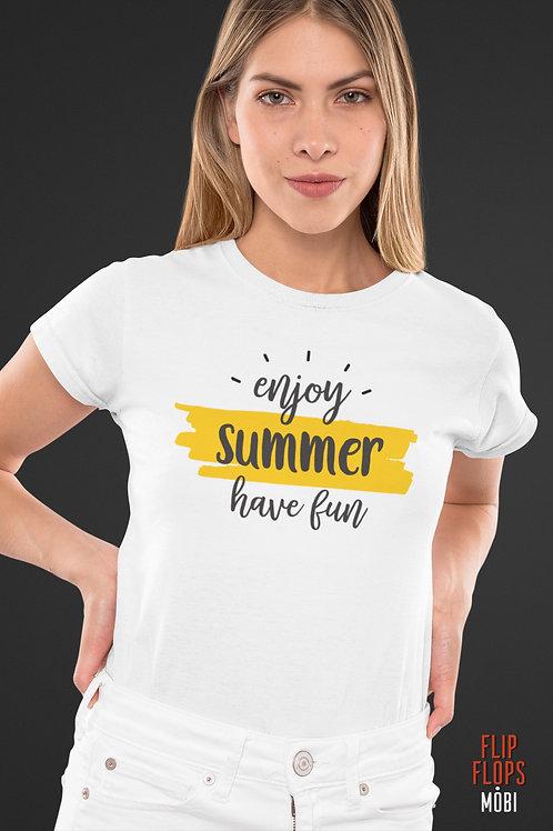 Бяла тениска - Enjoy Summer Have Fun - Безплатна доставка
