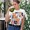 Thumbnail: Бяла тениска с илюстрация на Котки - Вариант 1 - Безплатна доставка