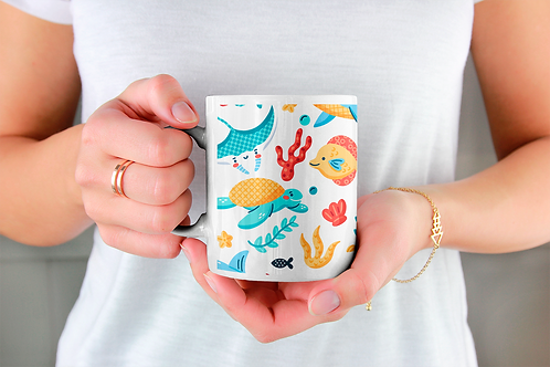 Стилна чаша за кафе с оригинални илюстрации на Риби - вар.1