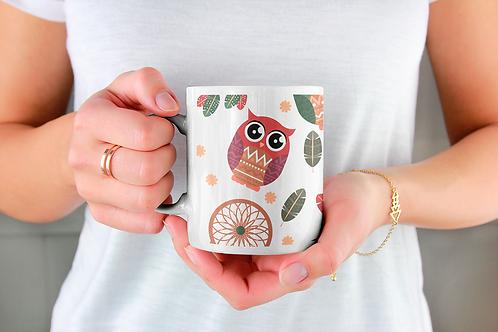 Стилна чаша за кафе с илюстрации на Бухал-вар.10 -Безплатна доставка