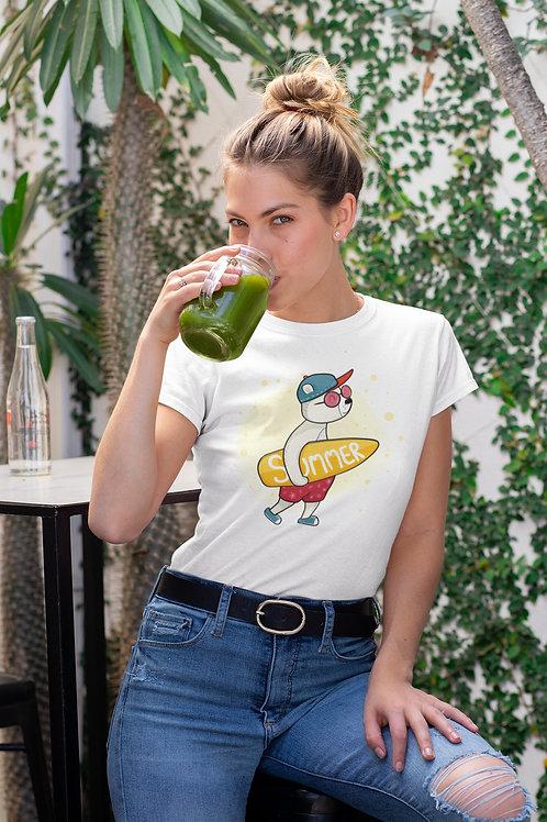 Бяла тениска със Сърф - Вариант 5 - Безплатна доставка