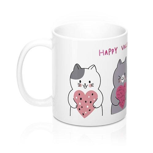 Стилна чаша за кафе с Котки и надпис Happy Valentine's Day