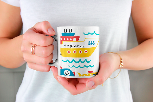 Стилна чаша за кафе с оригинални илюстрации на Риби - вар.8