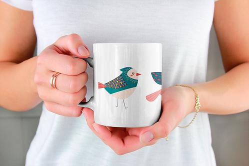 Стилна чаша за кафе с оригинални илюстрации на Птици - вар.28-Безплатна доставка