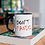 Thumbnail: Чаша с черна вътрешост и дръжка с надпис DON'T PANIC