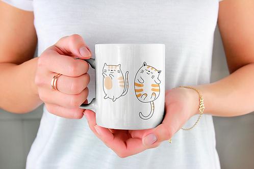 Стилна чаша за кафе с илюстрации на котки - вариант 8 - Безплатна достав