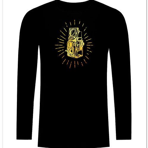 Черна тениска с дълъг ръкав - Ретро фото камера - вариант 5