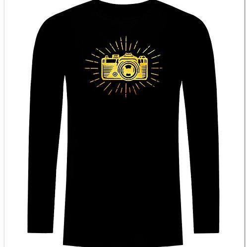Черна тениска с дълъг ръкав - Ретро фото камера - вариант 4