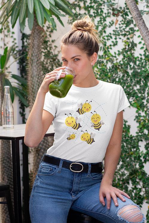 Бяла тениска с илюстрация на Пчели - Вариант 2 - Безплатна доставка
