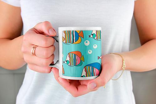 Стилна чаша за кафе с оригинални илюстрации на Риби - вар.21