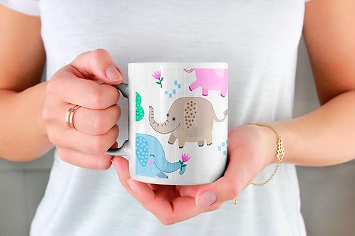 Чаша за кафе с илюстрации на Слончета - вариант 10 - Безплатна доставка.