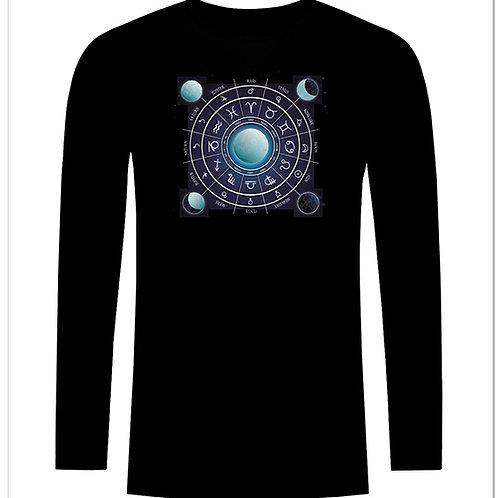 Черна тениска с дълъг ръкав - Зодиак - вариант 1