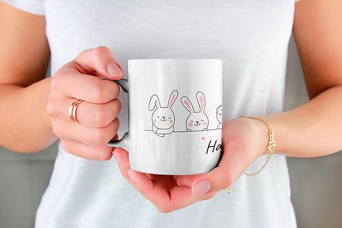 Стилна чаша за кафе с илюстрации на Зайци-вар.1 -Безплатна доставка