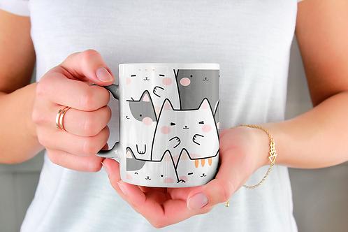Чаша за кафе със стилни илюстрации на Котки-вар.26 -Безплатна доставка