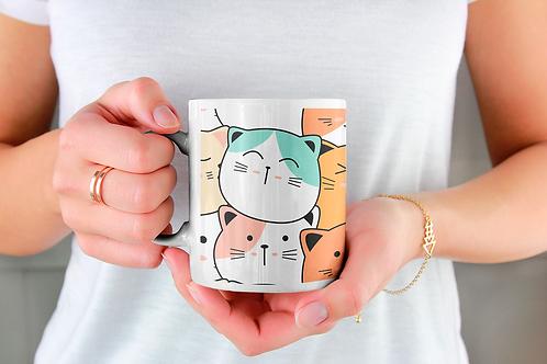 Чаша за кафе със стилни илюстрации на Котки-вар.20 -Безплатна доставка