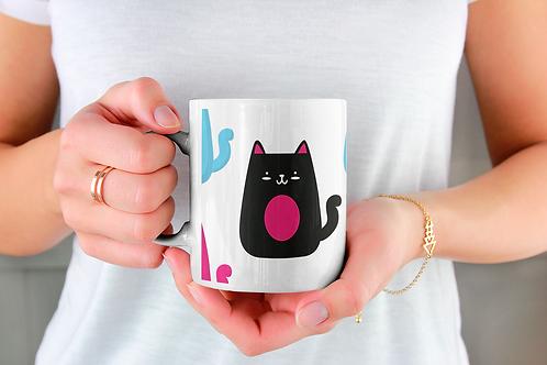 Чаша за кафе със стилни илюстрации на Котки-вар.27 -Безплатна доставка