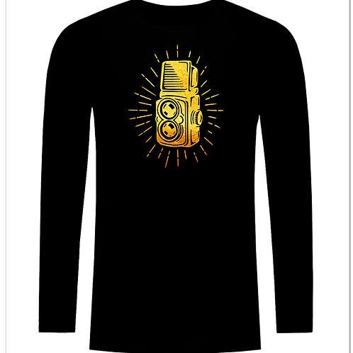 Черна тениска с дълъг ръкав - Ретро фото камера - вариант 3