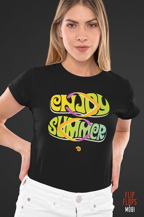 Черна тениска - Enjoy Summer - Безплатна доставка