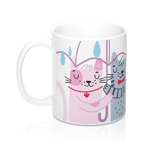 Стилна чаша за кафе с Котки под чадър и надпис Happy Valentine's Day