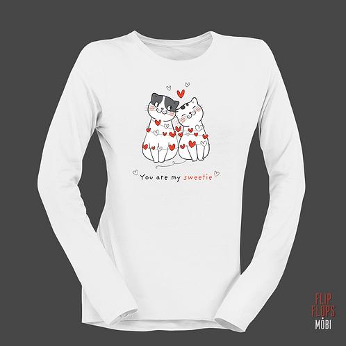 Стилна тениска с дълъг ръкав - Котки - You are my sweetie