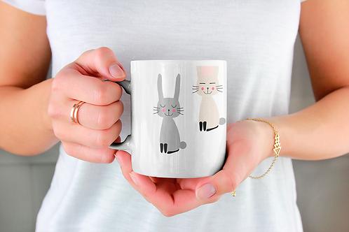 Стилна чаша за кафе с илюстрации на Зайци-вар.20 -Безплатна доставка